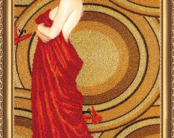 Bead embroidery kit, Medea (gold and red), woman portrait, needlepoint kit, DIY embroidery, 30x56 cm, DIY gift idea, beaded picture