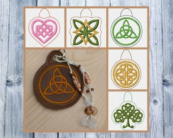 ITH embroidery, Celtic knots, Celtic Minis set, key chain, 10 x 10 Hoop, pockets pendant, ITH files, DIY embroidery