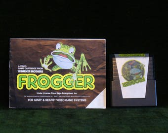 Vintage 1982 Atari 2600 Sega Enterprises Frogger Video Game Cartridge With Instructions Book.