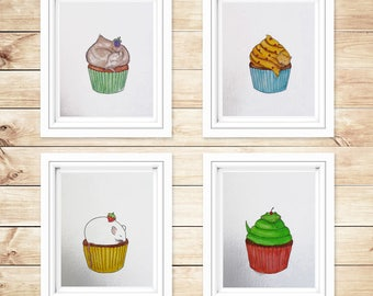 Nursery wall art. SET of 4 cupcakes. Nursery decor/ Original painting,/ handmade / baby room / kitchen art/ kids wall art / kids room decor