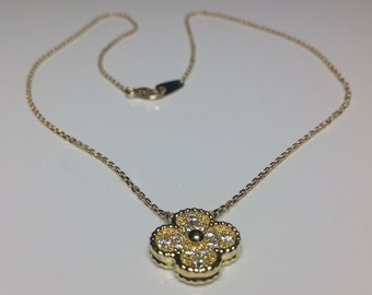 "Estate 18K Yellow Gold 16"" Long 0.50 CTW Diamond Flower Motif Necklace 4 Grams"