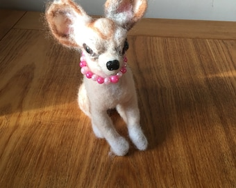 Ooak Needlefelted Chihuaua . 8 inch .