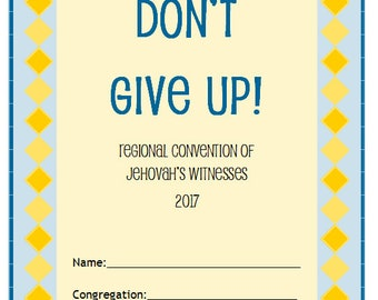 """JW Kids """"Don't Give Up!"""" Regional Convention 2017 Workbook - Family Worship JW Jehovah's Witnesses Bible Study"""