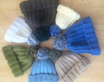 Boys and Mens Chunky Handmade Crochet Pompom Hat - unique design, bobble hat, mans pompom hat, boys pompom hat, baby pompom hat
