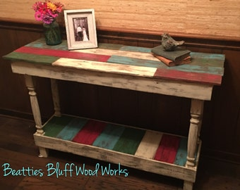 Distressed Multi Color Reclaimed Wood Entryway Table | Foyer Table | Sofa Table