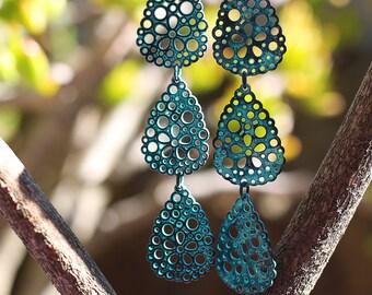 Handmade Blue Droplet Earrings - Boho