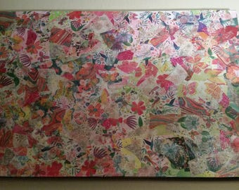 Art Abstract Collage Canvas Large Ready To Hang, Wall Art, Pink, Blue, Green, Sparkly,
