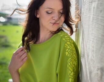 Green dress - hand painted dress - cotton dress - midi length dress - summer dress - dress with belt - shift dress