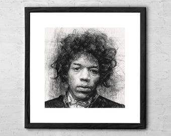 Jimi Hendrix - Jimi Hendrix Poster - Jimi Hendrix Art - Jimi Hendrix art print - Jimi Hendrix Drawing - Jimi Hendrix portrait - Rock Poster