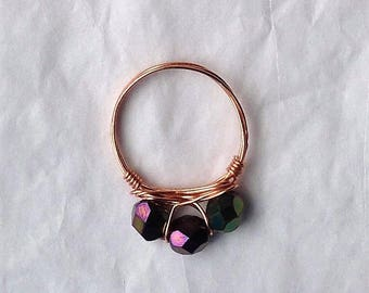 Black/green/purple iridescent beaded and copper ring