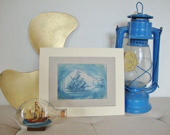 Impossible Journey. Ship in a bottle. Original dry-point etching print