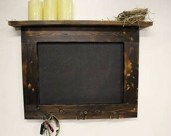 Key Rack, Framed Chalkboard, Rustic Wall Shelf, Kitchen Organization, Wood Wall Shelf, Office Decor,