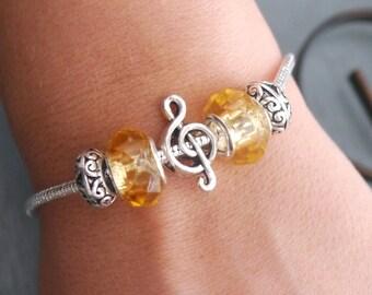 Music Note Bracelet, Treble Clef Bracelet, Treble Clef, Personalized, November Bracelet, Music Gift, Birthstone Bracelet, Music Bracelet