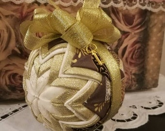Quilted Christmas ball ornament, folded fabric ornament, christmas ornament, christmas present, housewarming gift, teacher's gift idea