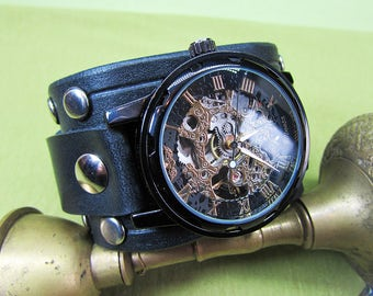 Handmade Black Watch cuff strap, Mens Watch Leather strap, Watch band 18mm, 20mm, 22mm , 24mm 028