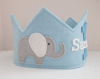 Wool Felt Crown Elephants, Birthday Crown, Elephant Birthday Party,  First Birthday, Personalized, Velcro Closure, Smash Cake