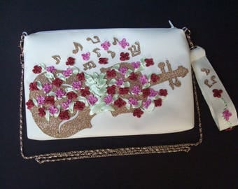 Embroidered Violin Flower Purse