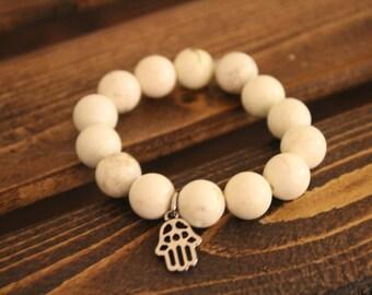 Howlite Crystal Beaded Bracelet