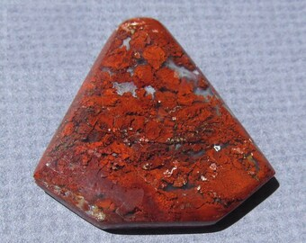 Arizona Red Plume Agate Cabochon-46.5 Cts.   Sides are 31mm Long and Base is 34mm Across