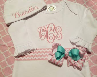 Embroider Newborn Girl Initial Gown w/Ribbon&Bow,Monogram Baby Girl Gown,Monogram Baby Girl Hat,Monogram Newborn Girl,Monogrammed Baby Gifts