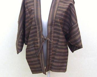 Brown stripe Haori coat Japanese traditional