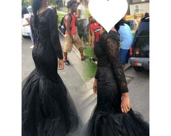Handmade Black Lace Prom Dress
