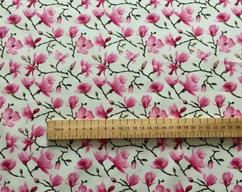 Pink Blossom Floral Fabric 100% Cotton