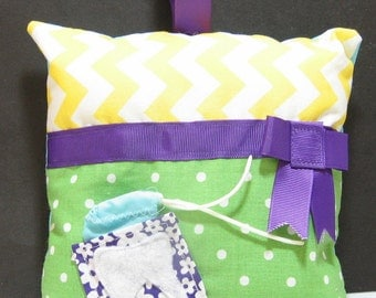 Funky Zig Zag and Polka Dotted Hand Made Tooth Fairy Pillow for Girls - Yellow/Green - girls birthday; christmas gift; gift for her; kids