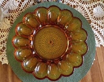 Vintage Indiana Glass Hobnail Egg Platter
