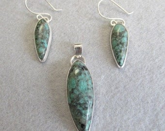 Variscite and Sterling Silver Necklace and Earring Set