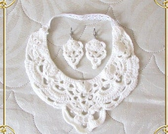 Openwork Crochet knit white Necklace with earrings