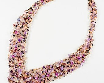 Art wire knit necklace, mixed beads
