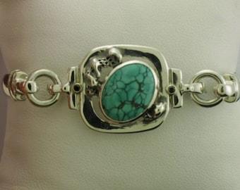Turquoise & Sterling Silver Free Formed Bracelet