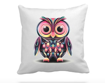 """Psychedelic Abstract Owl - 16.5"""" (42cm) Silk or Velvet Pillow Cushion & Cover"""