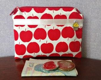 Handmade cotton coin purse - red apples print