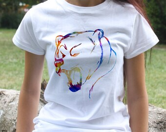 Bear T-shirt - Animal Tee - Fashion women's apparel - Colorful printed tee - Gift Idea