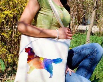 Golden Retriever tote bag -  Dog shoulder bag - Fashion canvas bag - Colorful printed market bag - Gift Idea