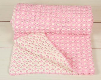 Hand made crochet baby blanket two-sided;Hand made crochet baby blanket; blanket for the stroller; baby shower blanket;afghan blanket;