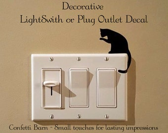Light Switch or Plug Outlet Vinyl Wall Decal - Sitting Cat - Removable Vinyl #15