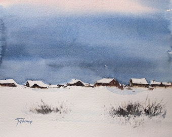 Original Watercolor Painting Landscape WINTER SKY