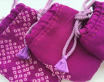 Three little pouches (purple shibori fabric)