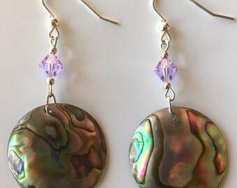 Paua Shell & Swarovski Earrings