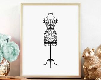 Wrought Iron Black Dress Form Print, Mannequin print, Bedroom Décor, Vintage Décor, Digital Print, Instant Download, Printable Art