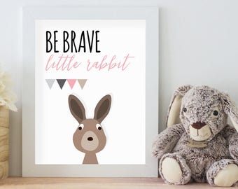 Be Brave Little Rabbit, 11x14 Digital Download Prints, Wall Art, Girl Nursery, Rabbit Nursery, Playroom, Arbor Grace Collections