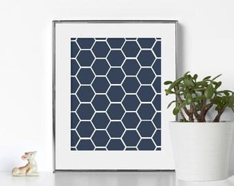 Geometric Bathroom Poster Hexagon Bathroom Prints Digital Download Bathroom Wall Art Blue and White Bathroom Art Blue Hexagon Art Minimal