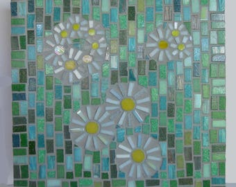 Mosaic Wall Art Daises on Green glass mosaic