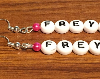 Personalised earrings with name made to order