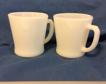 FIRE KING - Set of 2 Mugs with 'D' Handle - Milk Glass ~ mid-1970s Backstamp ~ Anchorwhite Color ~ Anchor Hocking - Retro Kitchen Item