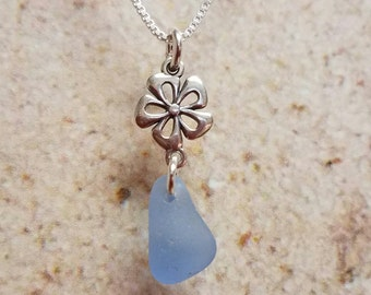 Dainty Sterling Silver Flower and Blue Sea Glass Necklace- FREE SHIPPING!
