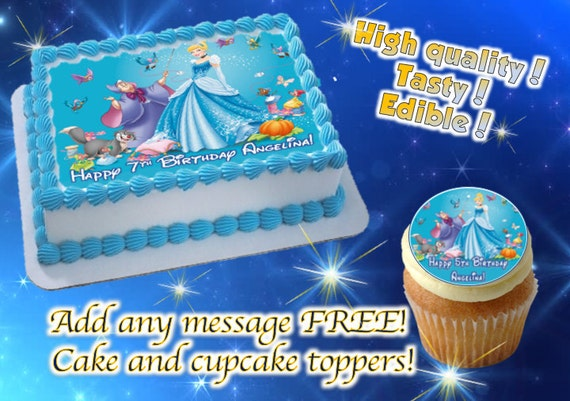 Cinderella And Godmother Cake Decorating Kit : Cinderella cake, cupcake & cookie toppers, edible print ...